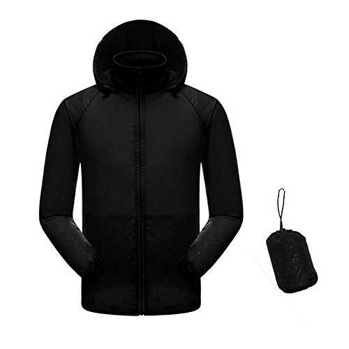 Men Women Lightweight Waterproof Rain Jacket UV Protect+Quick Dry Windproof Skin Coat Active Outdoor Hoodie Coat Cycling Running Sport Jacket with Storage Bag by AVSUPPLY