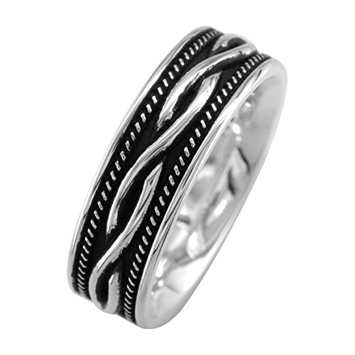 Wide Infinity Wedding Band with Rope Design and Black in Sterling Silver, 8mm size 10.5 by Sziro Infinity Wedding Bands