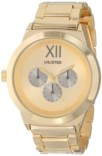 UNLISTED WATCHES Men's UL1269 City Streets Yellow Gold Case Dial Silver Sub-Eyes Strap Watch