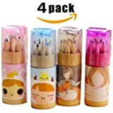 Edmonds Cute Mini Colored Pencils Set for Kids With Cap Sharpener, Cylindrical Box Package, (Total 48 Colored Pencils, 3.54 inches, 12 pieces per cylinder ) (4 Pack)