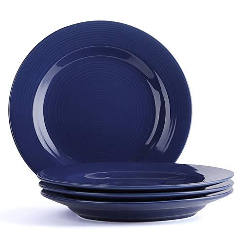 (LE TAUCI Ceramic Salad Plate Set - 8 Inch Appetizer Plates for Salad, Dessert, Set of 4, True Blue)