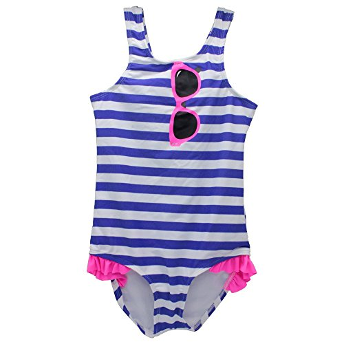 AMTopShow Kid Swimming suit for 7-8 years old little Girls with Striped Printed, Cute and Comfortable beachwear, Tankini Style