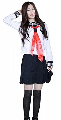 [POJ Japanese High School Girls Uniform [ L Size Navy Blue / White for Women ] (L, White)] (Japan National Costume For Kids)