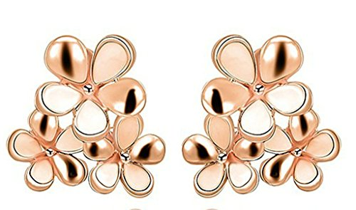 AMDXD Bijoux Plaqué Or Femme Boucles D'oreilles Or Rose Bouquet 2.1*2CM