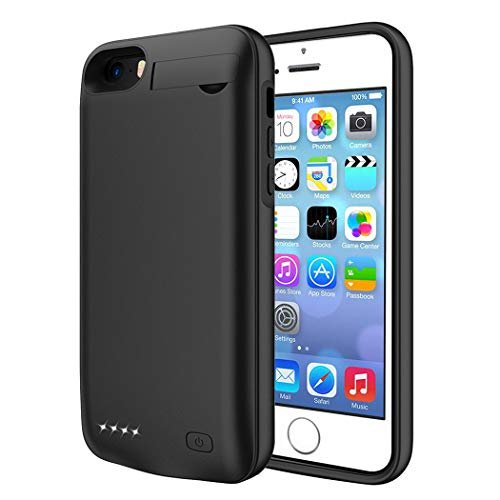 ZURUN Battery Case for iPhone 5/5S/SE, [Upgraded] 4500mAh Rechargeable Portable Charger Case Extended Battery Pack for iPhone 5/5S/SE (4.0 inch) Protective Power Charging Case-Black