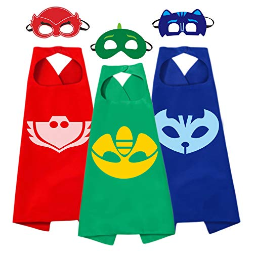 3 Different Capes Mask Costumes Kids 3Pcs Cartoon Dress Up Double-Sided Costumes -
