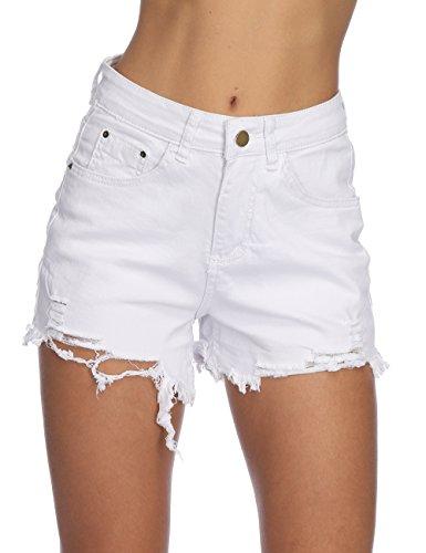 (Haola Womens Denim Shorts Summer Stretchy Frayed Raw Hem Distressed Jeans Shorts White)