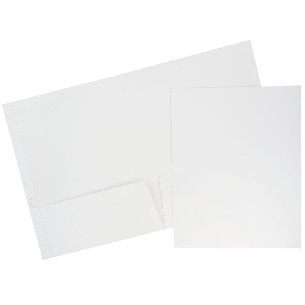JAM Paper Laminated Glossy 2 Pocket School Folders - White - 100/pack by JAM Paper