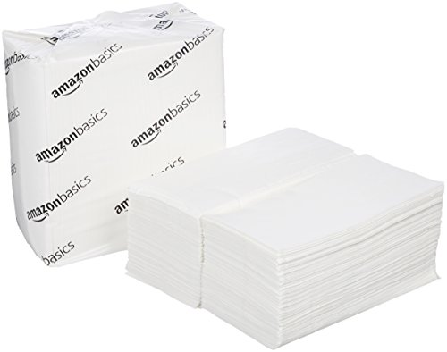 AmazonBasics Tall Fold Napkins, White, 500 Napkins per Pack, 20-Pack (Tall Paper Pulp)