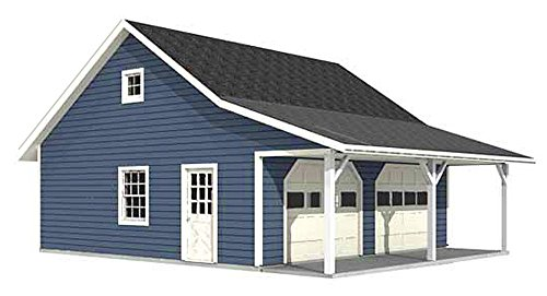 Garage Plans : Roomy 2 Car Garage Plan With 6 ft. Front Porch - 676-FP - 20' x 24' - two car - By Behm Design