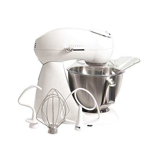 Hamilton Beach Eclectrics All-Metal 12-Speed Electric Stand Mixer, Tilt-Head, 4.5 quart, Pouring Shield, Sugar (63221)
