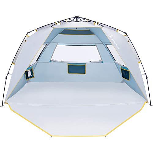 WolfWise Easy Setup Beach Tent UPF 50+ 4 Person Sun Shelter Quick Instant Beach Shade Portable Beach Umbrella Outdoor Sport Canopy Cabana Sun Shade