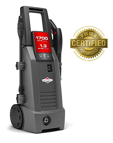 Briggs & Stratton Electric Pressure Washer 1700 PSI 1.3 GPM with 26' High-Pressure Hose, Turbo Nozzle & Detergent Injection ()