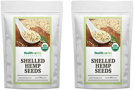 Healthworks Shelled Hemp Seeds Organic (64 Ounces / 4 Pound) (2 x 2 Pound Bags) | Premium & All-Natural | Canadian or European Sourced | Contains Omega 3 & 6, Fiber and Protein | Great with Shakes