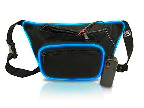 nineteen80something Light Up LED Fanny Pack, Glow In The Dark Waist Bag, EL Wire, Neon Clothing, Day or Night (LED Black Blue) ()
