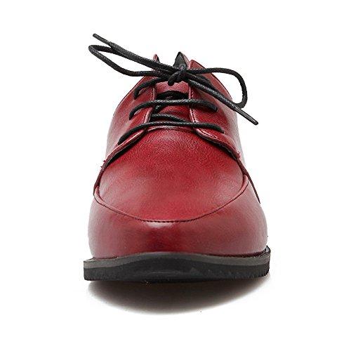 Urethane Lace Toe Red Shoes Round Womens Up Flats BalaMasa Solid 5YqxC