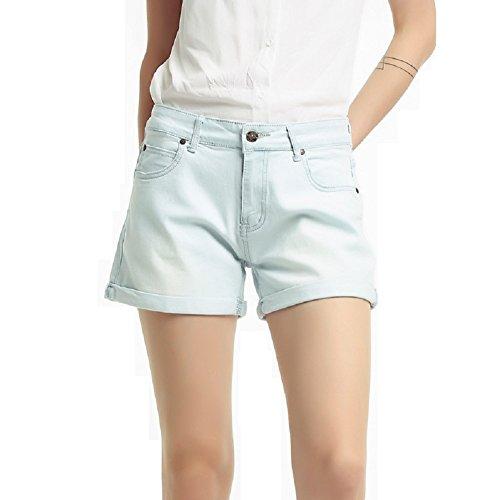 Jeans Bleu Haute Courts Taille Jeans Jeans Denim Zipper Jeans Oudan Femmes Hipster Pantalons Clair d't FIqOYx