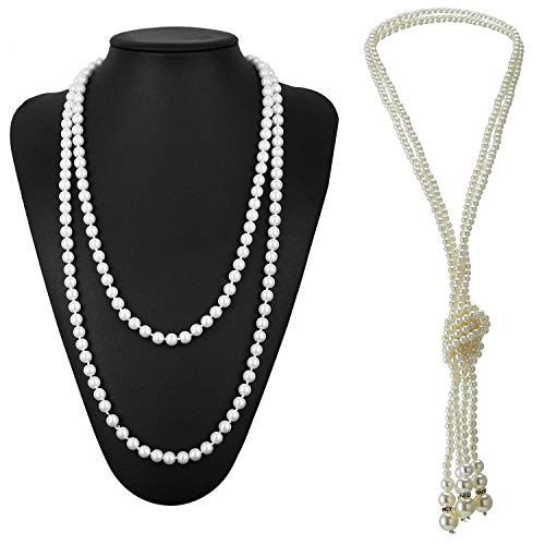 (1920s Gatsby Accessories Necklace Faux Ivory Pearl Cream 67.8