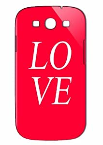 Case Fun Samsung Galaxy S3 (I9300) Case - Vogue Version - 3D Full Wrap - Love Red with White Letters