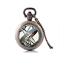 Astronomical Sundial Globe Pocket Watch Necklace, Glass Dome Pendants Vintage Astronomy Science Jewelry