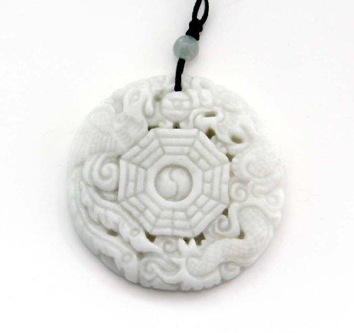 Light Color Stone Dragon Phoenix 8-diagram Yin-yang Amulet Pendant
