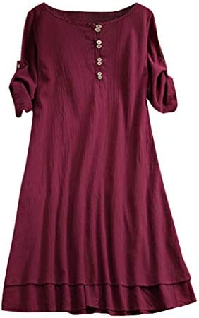 UOKNICE Dresses for Women Spring Summer Casual Plus Size Round Neck Solid Half Sleeve Loose T-Shirt Tops Dress