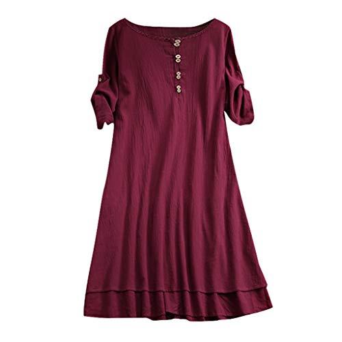 Littay Women Dress Plus Size Women's O-Neck Casual Half Sleeve Loose Linen M-5XL ()