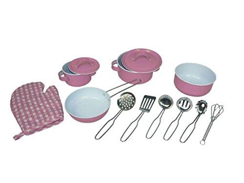 Rosa Holzspielzeug Peitz Kinder-Kochgeschirr 13 teilig SLH 2193 K/üchenhelfer Kochtopf-Set