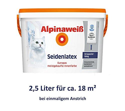 ALPINA Alpinaweiß Seidenlatex 2, 5 Liter strapazierfähige Latexfarbe Wandfarbe Weiß Seidenglanz Alpina Farben GmbH