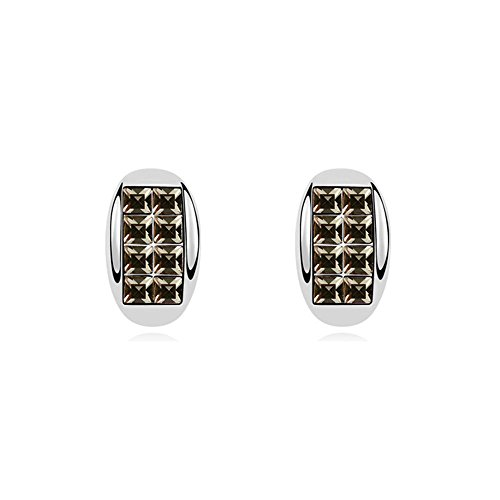 GESTOCKING - White Gold Plated Half Moon Earrings with Black Swarovski Element Crystals- Blue Pearls - GS 167 -