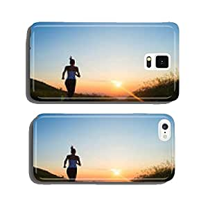 woman running on a mountain road at summer sunset cell phone cover case iPhone6 Plus