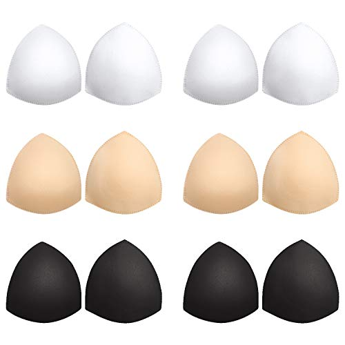 Bra Pads Inserts 6 Pairs, Bra Cups Inserts, Removable Breast Enhancers Inserts for Women (Beige, Black, White) (Bra Pads Inserts)