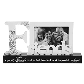 Amazon.com: Black and White Friends Table Block Photo Frame A Good ...