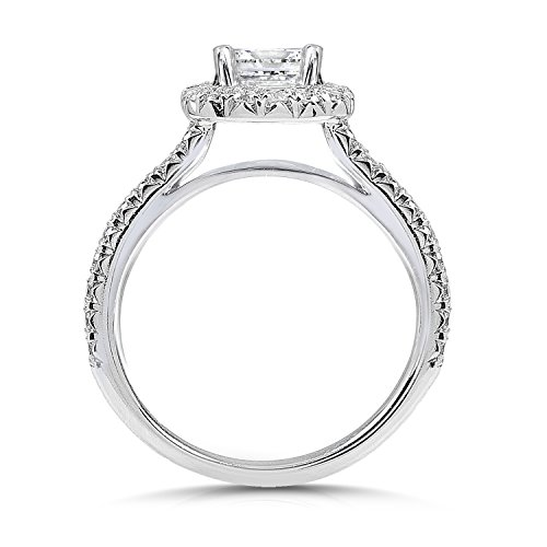 Round Moissanite Engagement Ring with Halo Diamond 1 2/5 CTW 14k White Gold