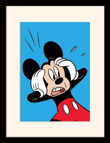 Mickey Mouse 30 x 40 cm sorprendido montado y impresión enmarcada ...
