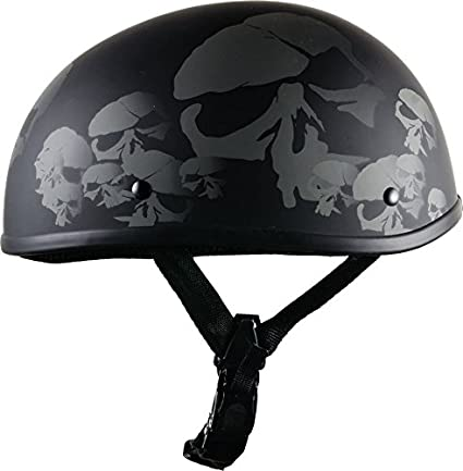 4718282a0a0 Amazon.com  Bikerhelmets.com - Skull Nation - World s Smallest Motorcycle  Helmet - DOT Approved Ultra Low Profile Beanie - Flat Black No Peak -  2X-Large  ...