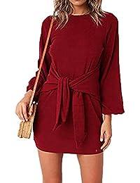 Women's Autumn Winter Long Lantern Sleeve Knitted Bodycon Tie Waist Pencil Sweater Dress