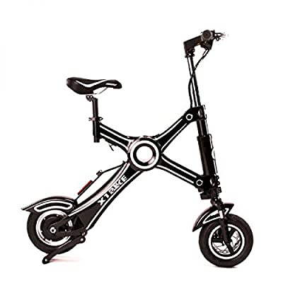 X1 Bike The Latest 100% ELECTRIC FOLDING MOTORCYCLE BICYCLE Zero Emission Ebike Scooter with Dual Suspension 265lb Weight Limit   CITY COMMUTER MODEL 25 Miles Range   19 MPH Top Speed   BLACK