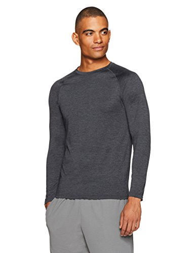 Amazon Essentials Men's Tech Stretch Long-Sleeve T-Shirt, Black Heather, Medium