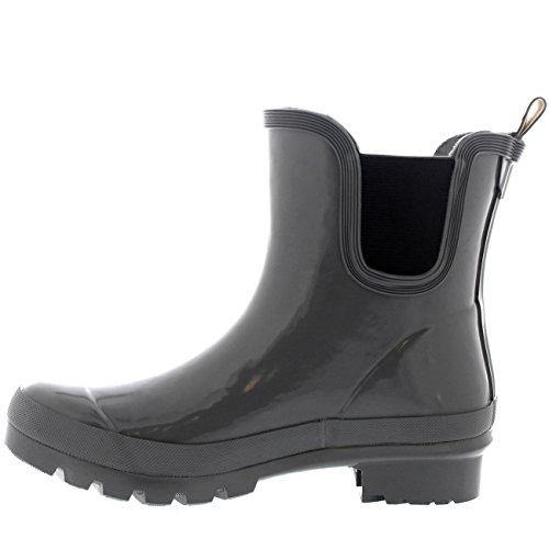 Mujer Clásico Chelsea Glosar Zapatos Planos Jardín Welly Zapato Botas Gris