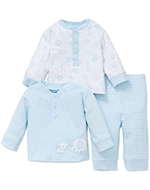 Safari 3 Piece Pants Outfit Blue Layette Newborn - 9 Months