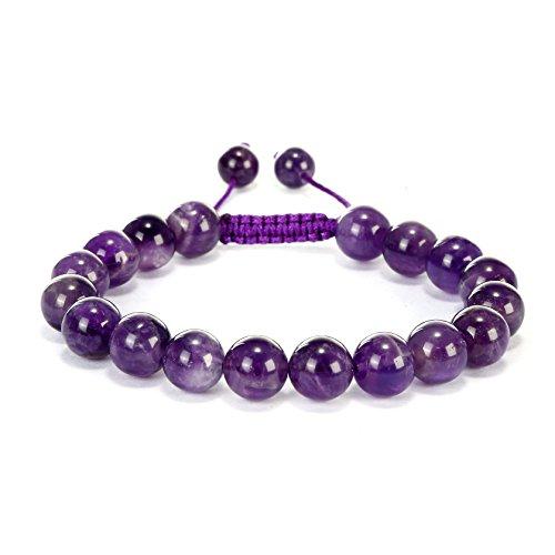 BRCbeads Gemstone Bracelets Purple Amethyst Natural Gemstones Birthstone Healing Power Crystal Beads Handmade 10mm Stretch Macrame Adjustable Loose Beads With Gift Box Unisex