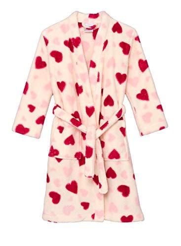 TowelSelections Big Girls' Robe, Kids Plush Kimono Fleece Bathrobe Size 10 Ivory Hearts - Heart Fleece Robe