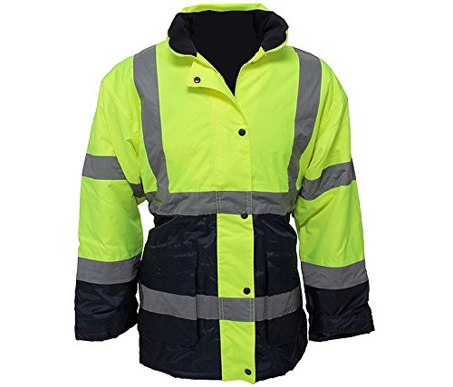 Utility Pro Uhv664 Polyester High Vis Ladies Jacket With Storm Cuffs With Dupont Teflon Fabric Protector   Lime Navy   Large