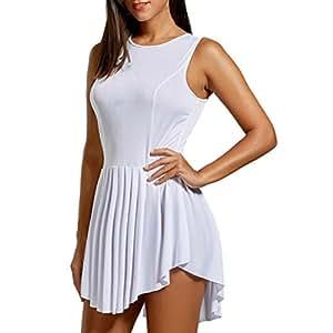 Vestido sin Mangas Plisado asimétrico Sólido sin Mangas de la Moda 2018 de la Manera de