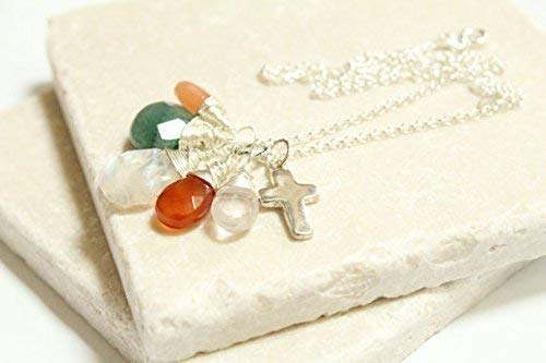 Juno Fertility and Pregnancy Sterling Silver Necklace featuring Gemstones Rose Quartz, Rainbow and Peach Moonstone, Green Aventurine, Carnelian hand wrapped in sterling silver with sterling pendant