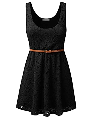 JJ Perfection Women's Sleeveless Lace Short Party Mini Dress with Skinny Belt