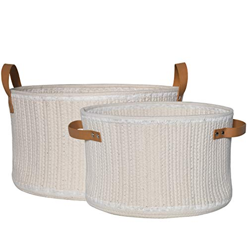 Storage Baskets Set 2 - Cotton Rope Woven Baskets with Handles for Kids Toys