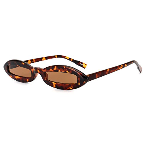 ROYAL GIRL Vintage Small Sunglasses For Women Fashion Designer Oval Acetate Frame Shades (Leopard-Brown, - Face Oval Girl