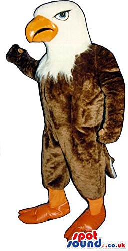 Brown And White American Eagle SPOTSOUND US Mascot Costume With An Orange (Eagle Beak Costume)